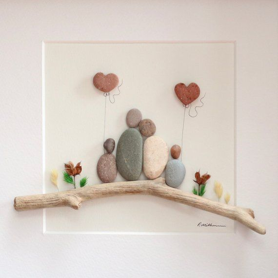 Pebble art family of 4, Family gift, Personalised Pebble Picture, Fathers day gift, Mothers day gift, Pebble Art Love, Art Work