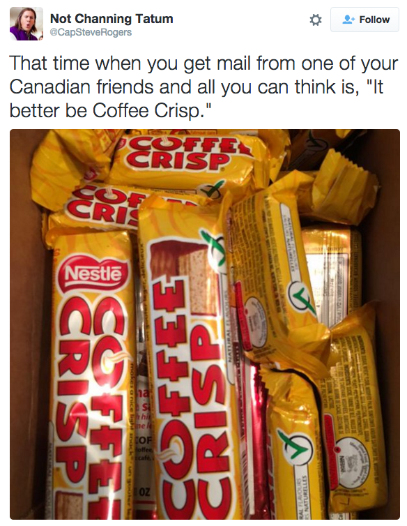 "So smuggling them to friends in different countries happens pretty frequently. | For Anyone Who Would ""Literally Die"" For A Coffee Crisp"