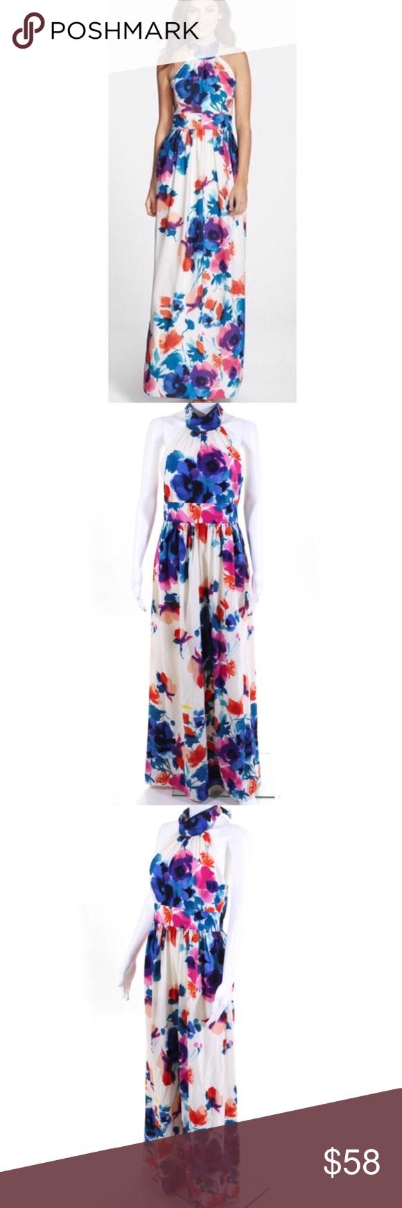 Eliza J Watercolor Floral Tie Neck Maxi Dress 6 Eliza J Dresses Maxi Watercolor Floral Dress Clothes Design [ 1740 x 580 Pixel ]