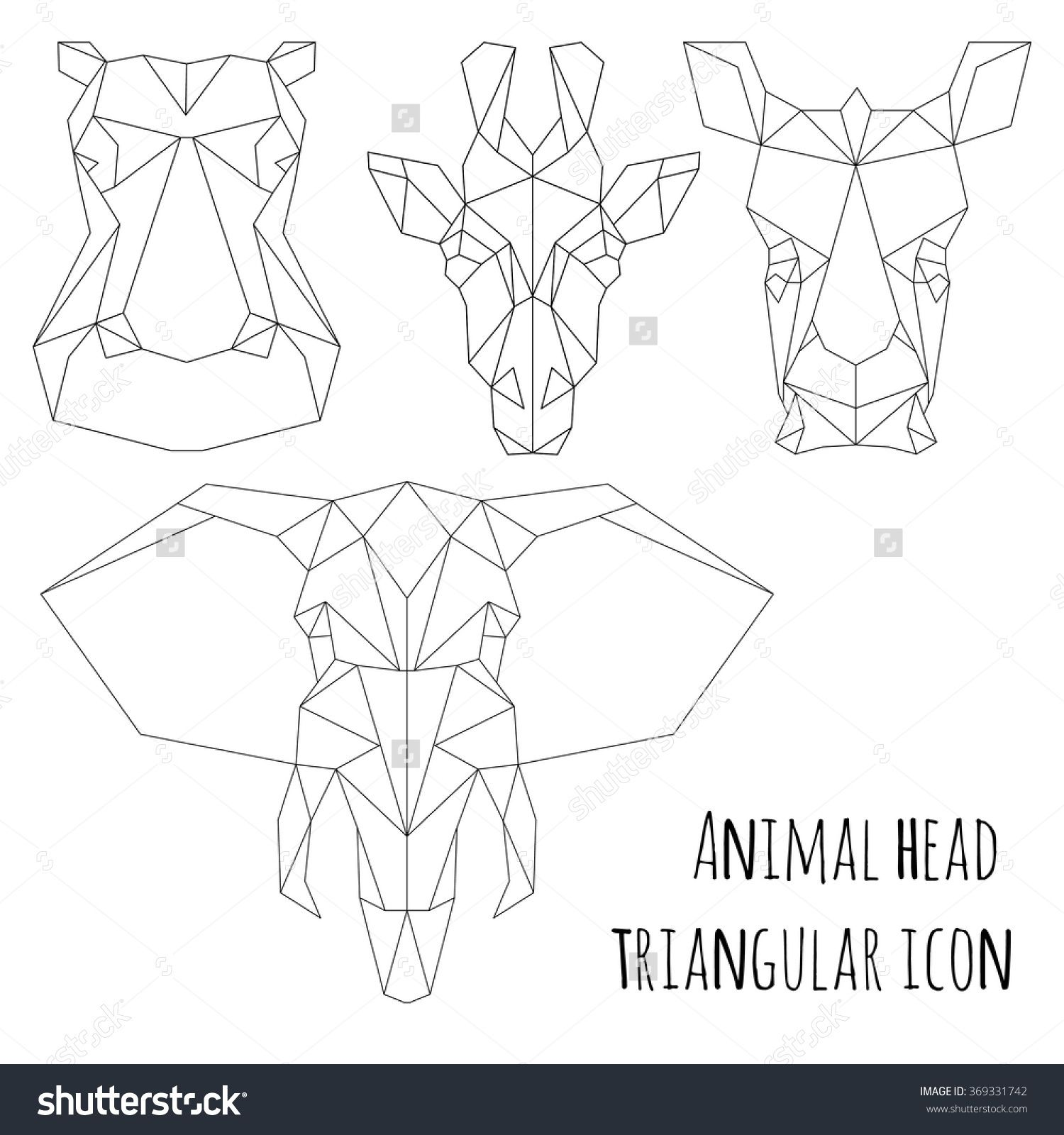 Animal Head Triangular Icon , Geometric Trendy Line Design ...