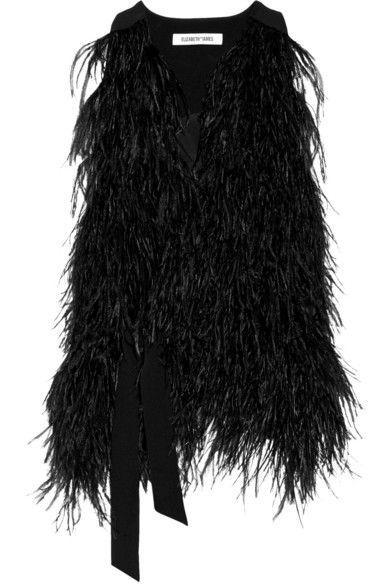 Elizabeth and James | Xiomara feather-embellished crepe vest | NET-A-PORTER.COM