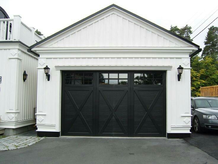 Modern farmhouse black garage door exterior for Farmhouse garage doors