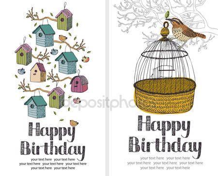 Ladda Ner - Fåglar Grattis på födelsedagen-kort — Stockillustration #10662290