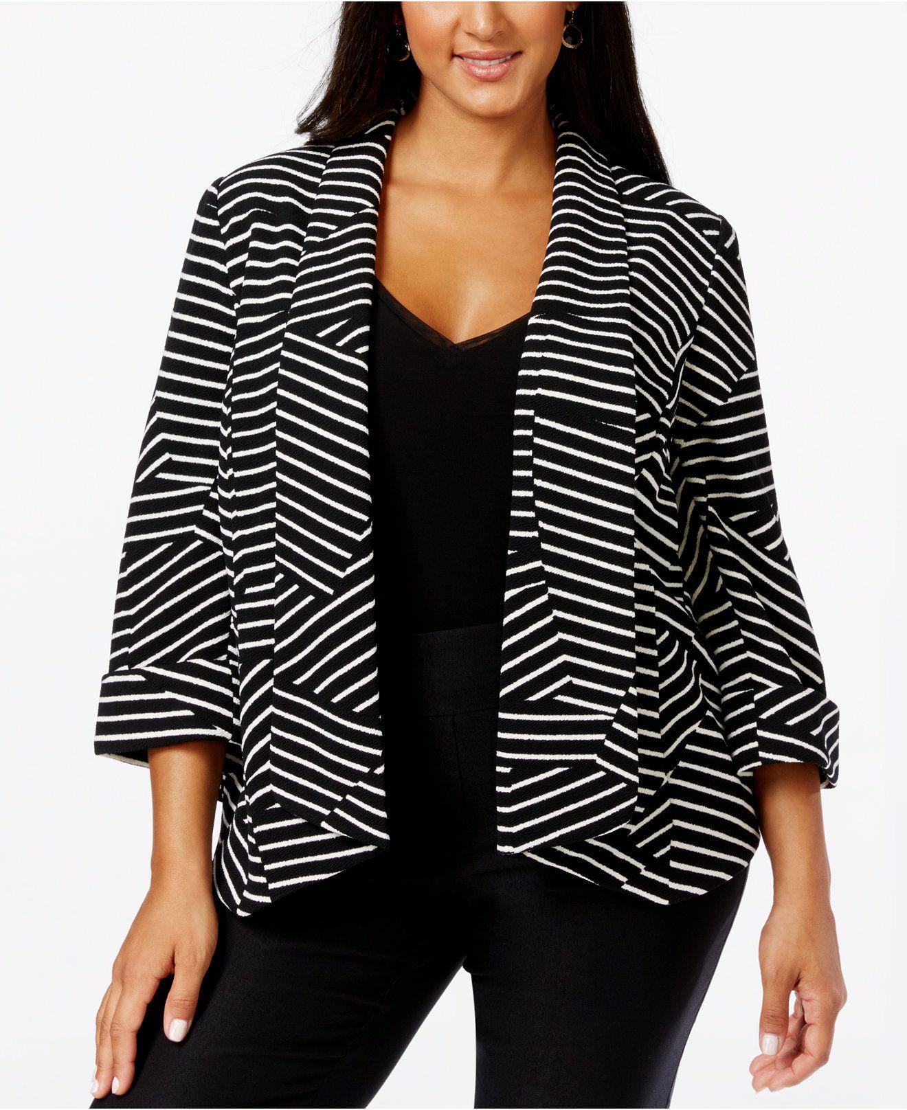 Kasper Plus Size Open-Front Printed Jacket - Jackets & Blazers - Plus Sizes - Macy's
