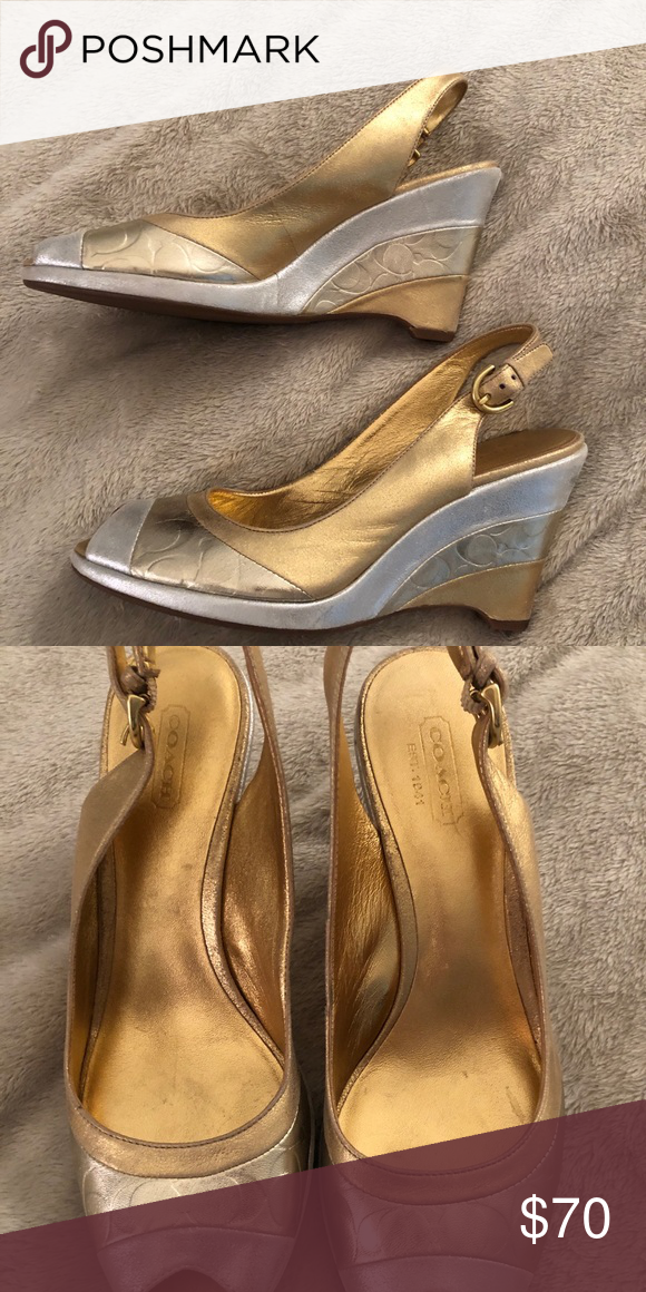 058762f65e7ee Coach gold and silver kitten heels Classic gold and silver peep toe leather  heels. Have some wear, but in great condition Coach Shoes Heels