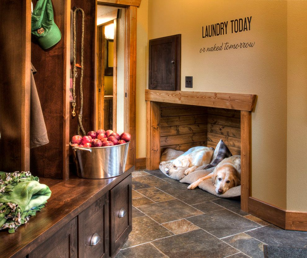 Dog Room Ideas Delectable Pretty Igloo Dog House In Entry Rustic With Laundry Shoot Next To Inspiration Design