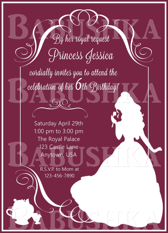 Princess Party Invitation/ Beauty and The beast Invitation/ Princess ...