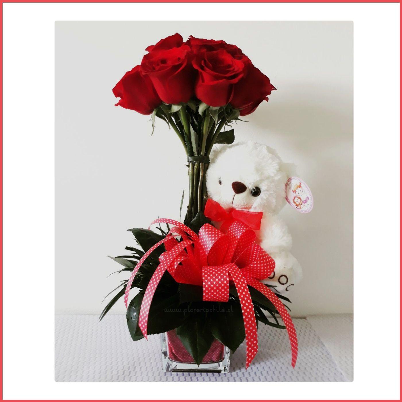 Arreglo Floral Con 12 Rosas Rojas Oso De Peluche Regalos