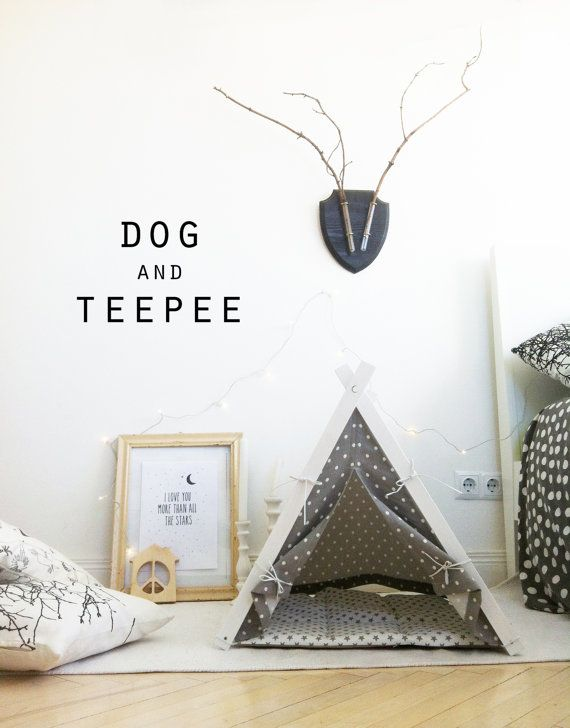Dog and cat bed. White dot teepee tent + gray dot cushion (Standard size)  sc 1 st  Pinterest & Dog and cat bed. White dot teepee tent + gray dot cushion ...