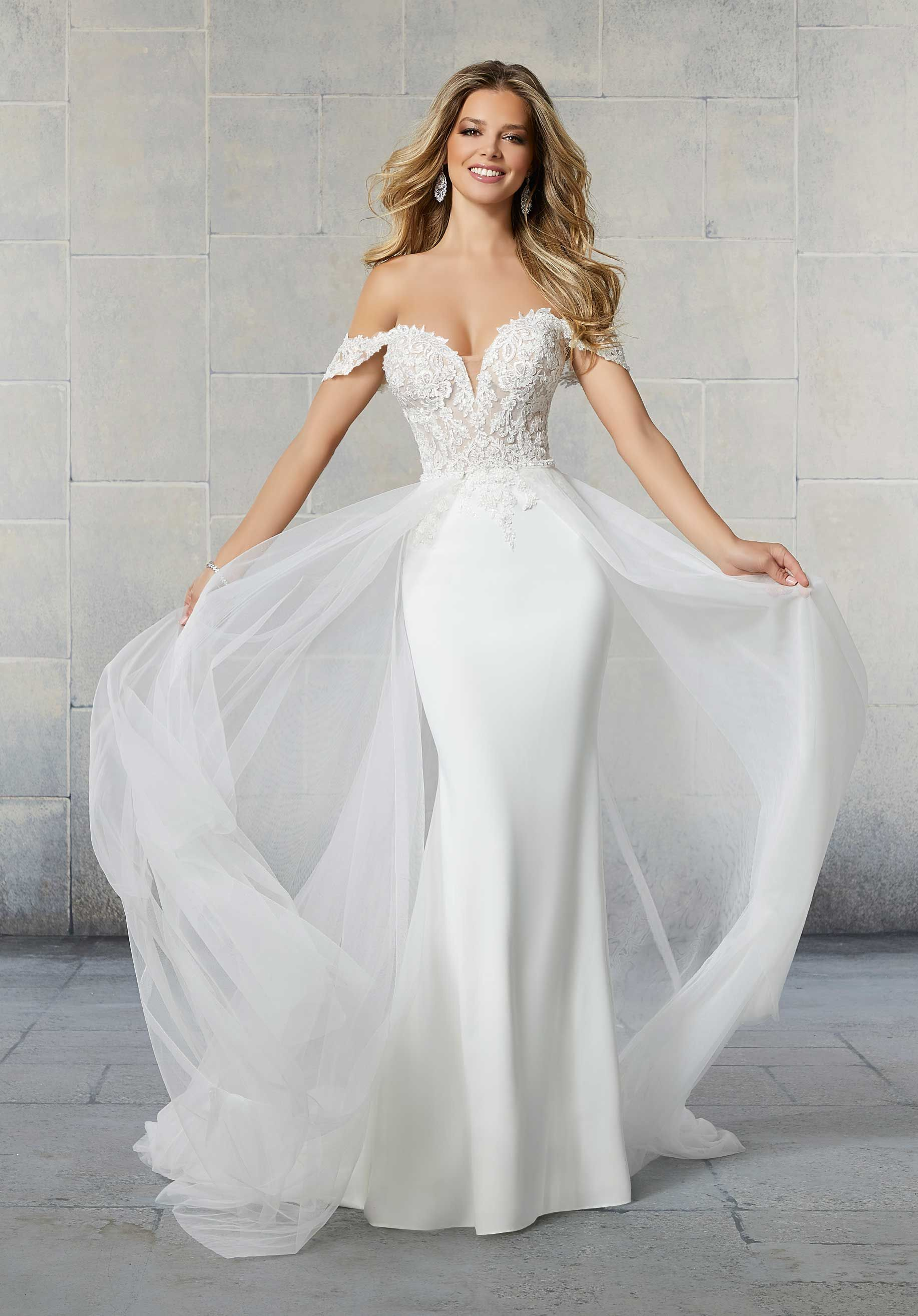 This Gown Features A Beaded Lace Bodice With Detachable Off The