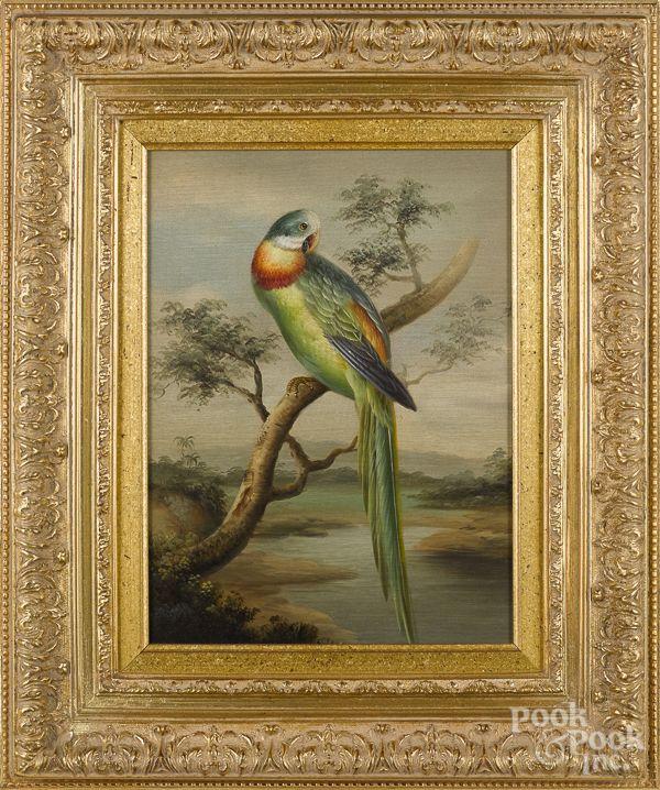 "Set of four contemporary oil on canvas bird portraits, 16"" x 12""."