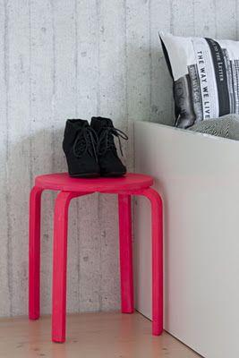 DIY neon pink painted stool.