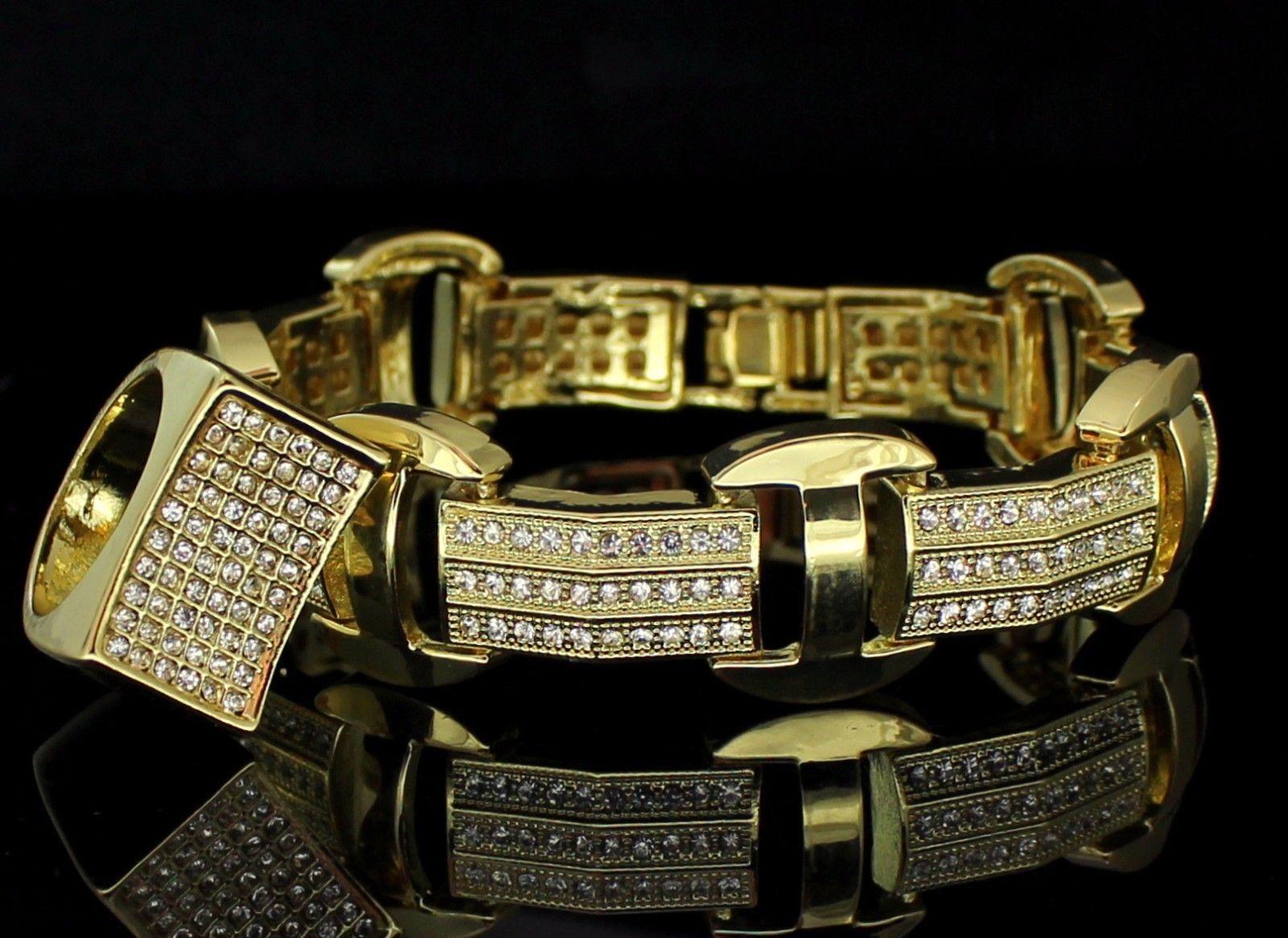 Mens pc iced out bracelet ring set k gold plated hip hop fashion