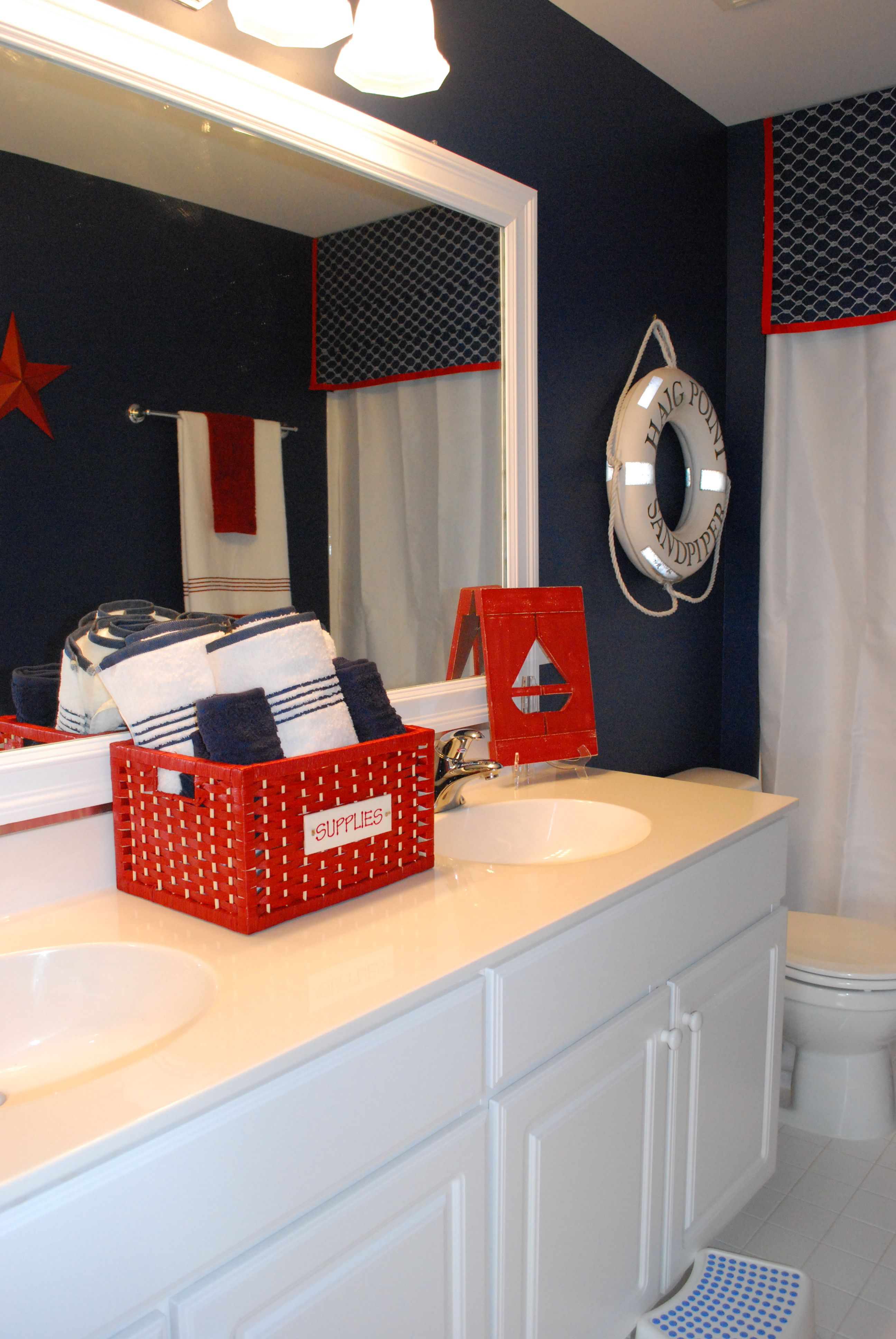 Boys Bathroom With A Nautical Theme 11 Magnolia Lane Red