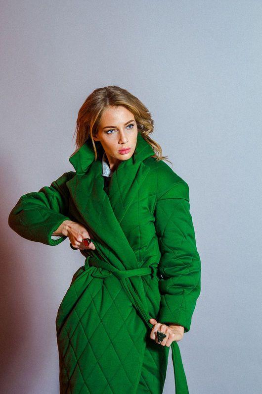 4b697c988d7 Верхняя одежда ручной работы. Ярмарка Мастеров - ручная работа. Купить  Стеганое зеленое пальто-фуфайка. Handmade. Пальто