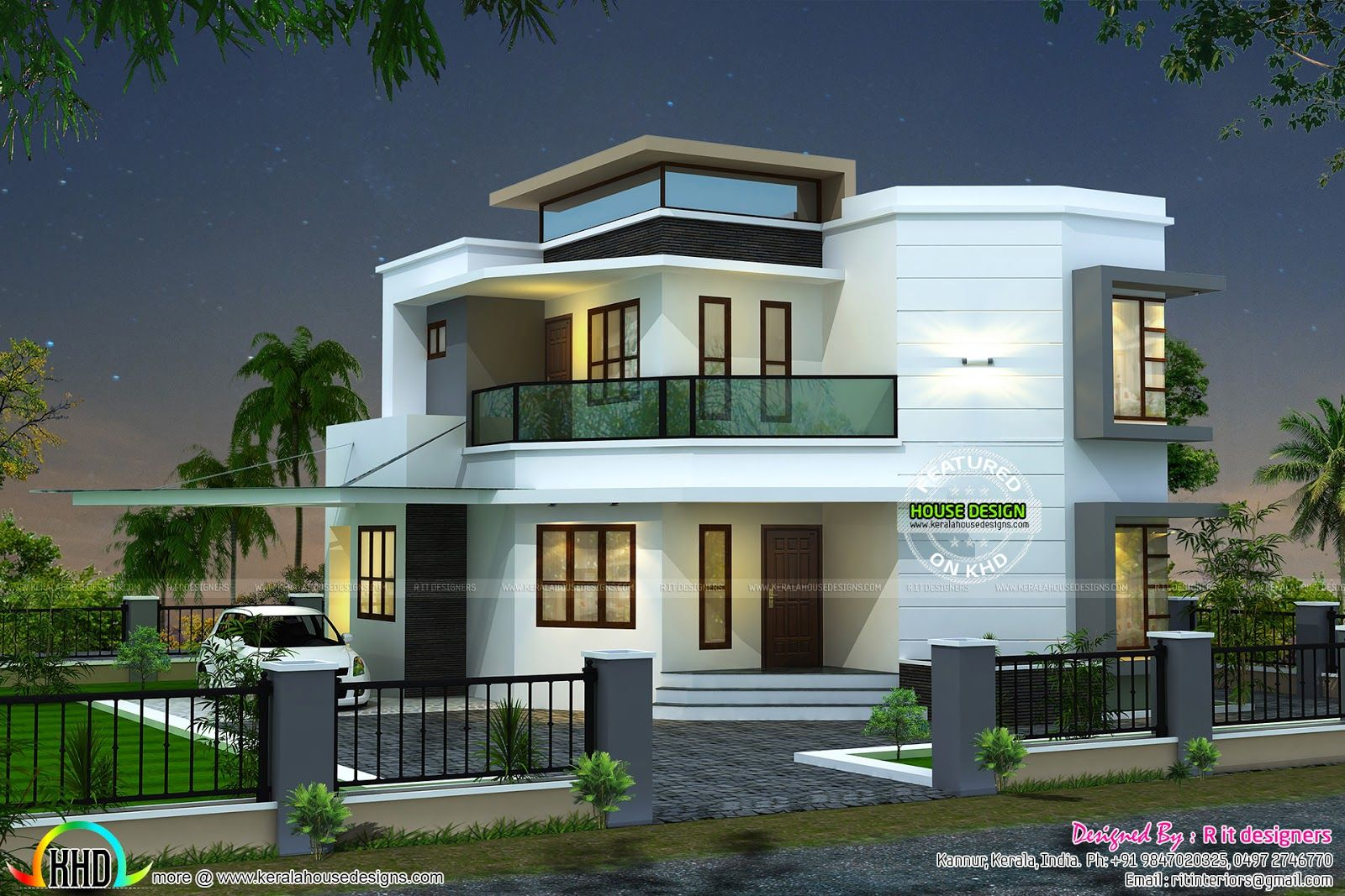 1838 sqft cute modern house Duplex house design, House