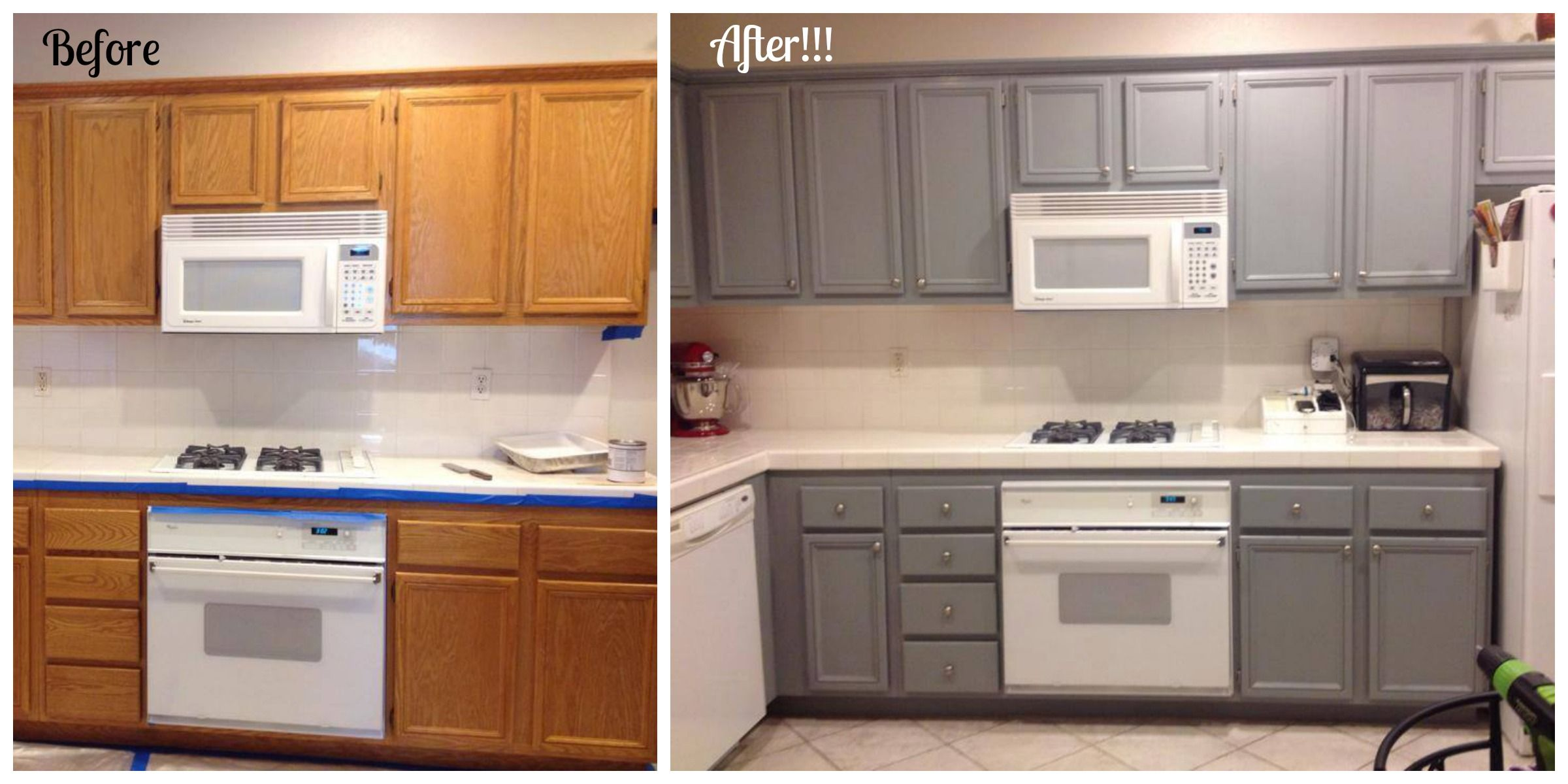 Amazing how a small change like painting cabinets can make such a huge impact in a room nuvo cabinet paint in slate modern kitchen makeover for under