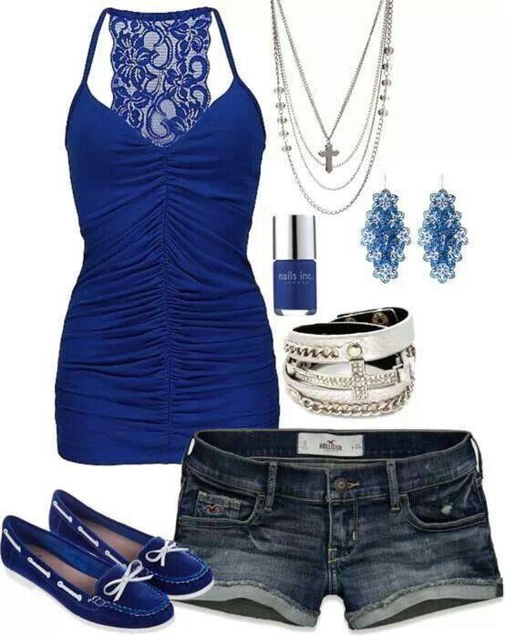 Blusa color Azul rey y short de mezclilla   Outfits   Pinterest   Color azul rey Azul rey y ...