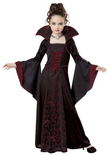 This Child Royal Vampire Costume for girls features a ...
