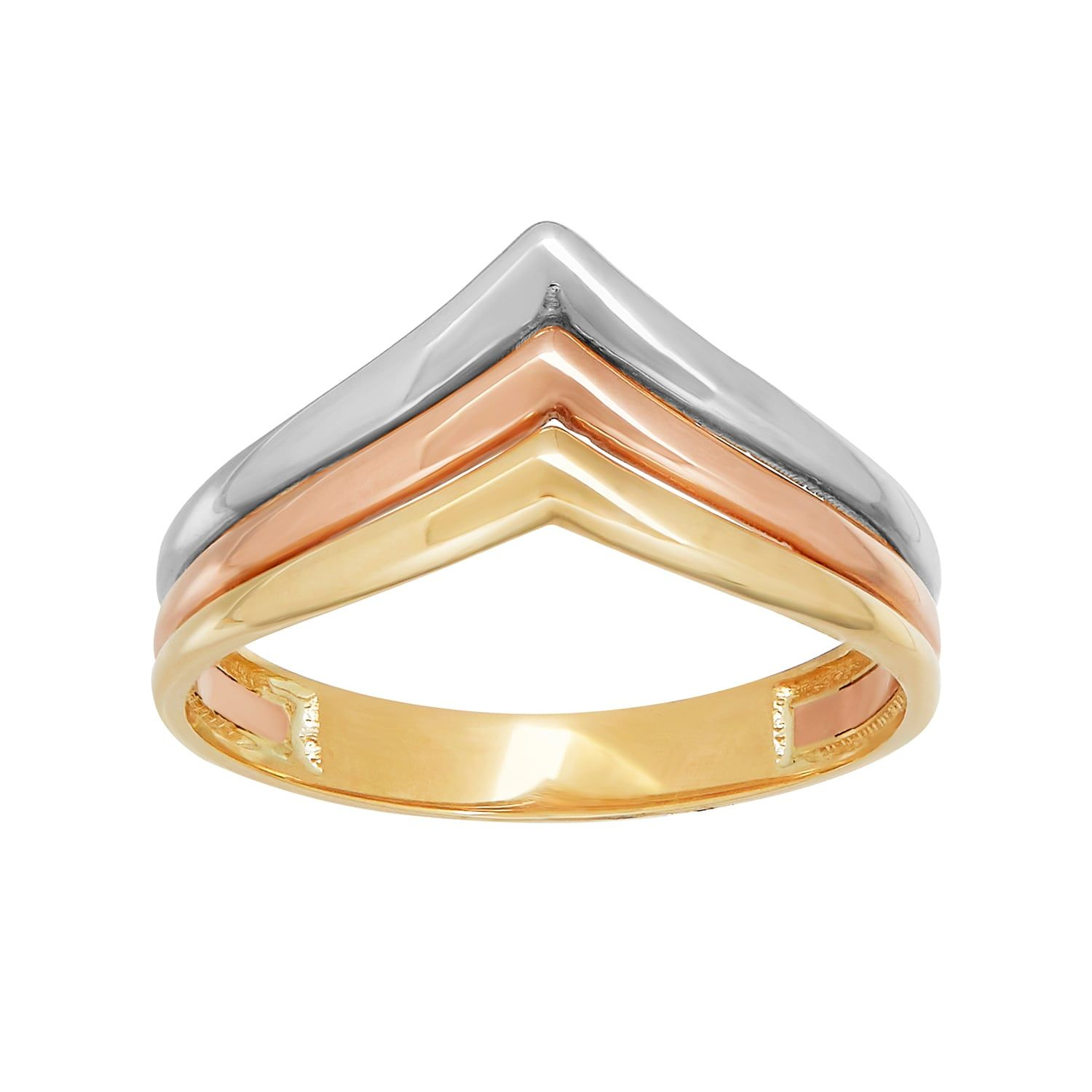 Everlasting Gold Tri Tone 10k Gold Chevron Ring Gold Chevron Ring Chevron Ring Gold Chevron