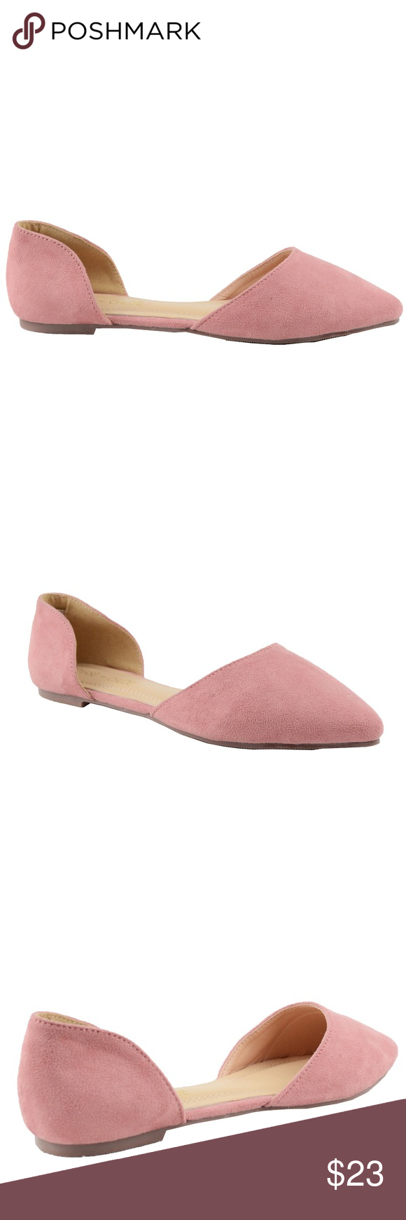 59ac1ca3a4 Women s D orsay Pointed Toe Mauve Flat Ballet Pointed Toe Covered D orsay  Slip On Women s Flat Sandal Very Comfy Flat for Spring Imported Faux Suede  Chase + ...