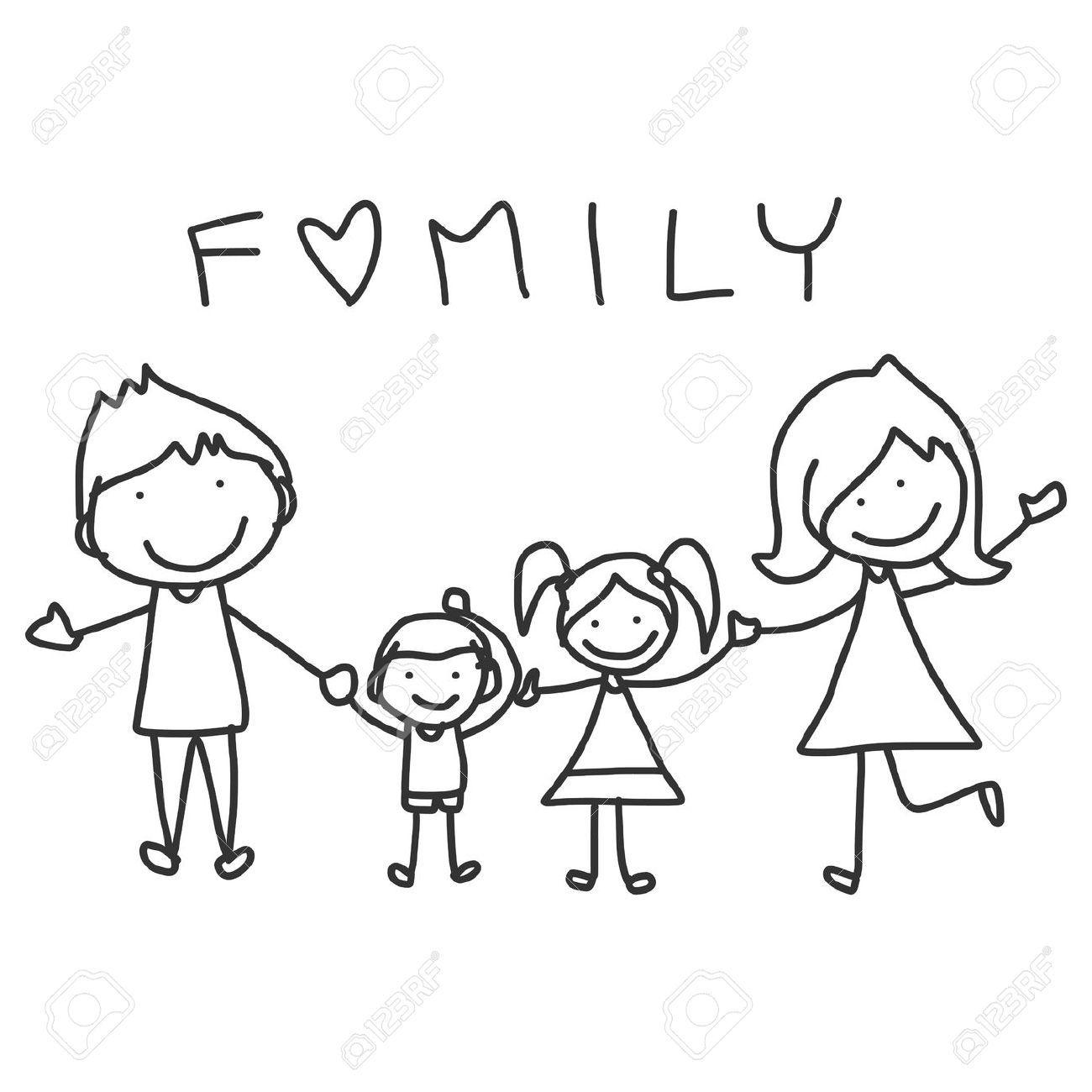 22348129 disegno a mano cartone animato della famiglia felice vita felice archivio fotografico. Black Bedroom Furniture Sets. Home Design Ideas
