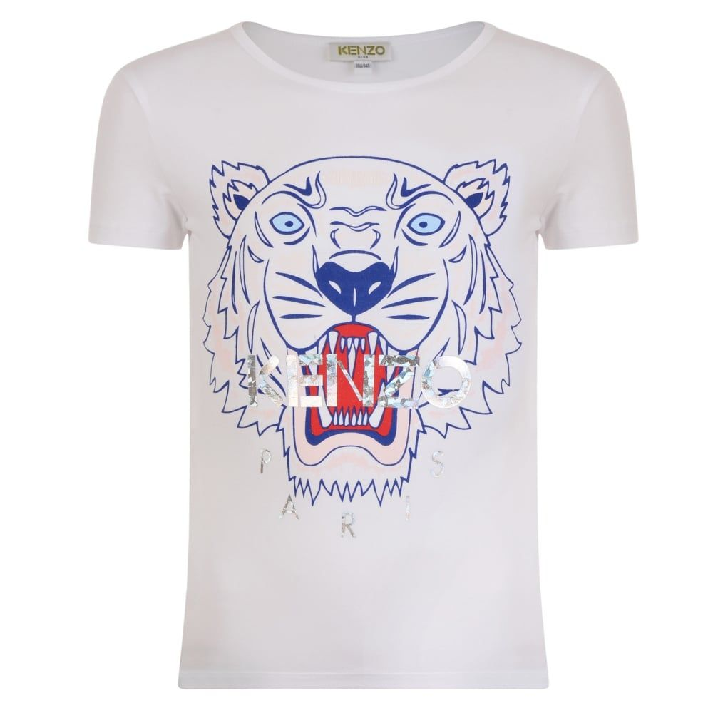 3c4bf767 Kenzo Kids Girls White T-Shirt with Red and Blue Tiger Logo | Kenzo ...