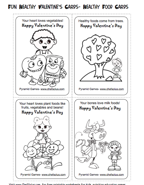 Free Kids Valentines Day Healthy Foods Cards Printables Healthy Valentines Valentines Day Activities Heart Coloring Pages