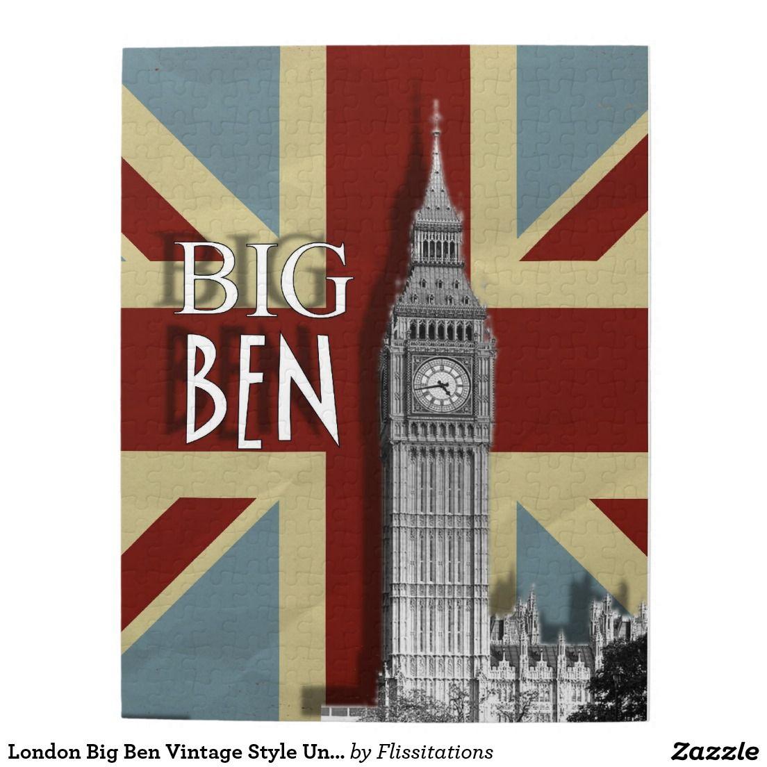 London Big Ben Vintage Style Union Jack Jigsaw Puzzle