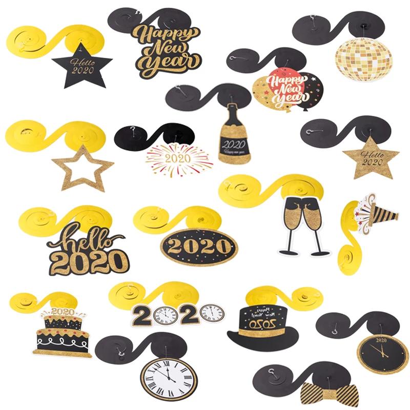 Happy New Year 2020 Eve Hanging Swirl (30Pcs)