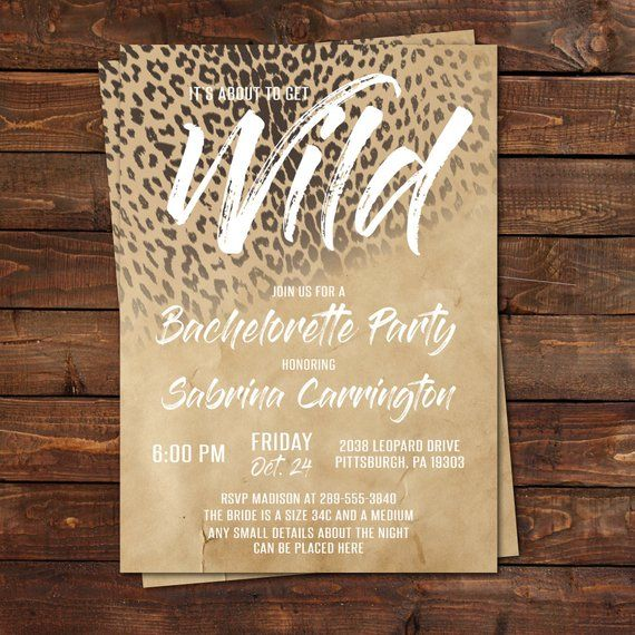 it s about to get wild leopard print bachelorette party invitation