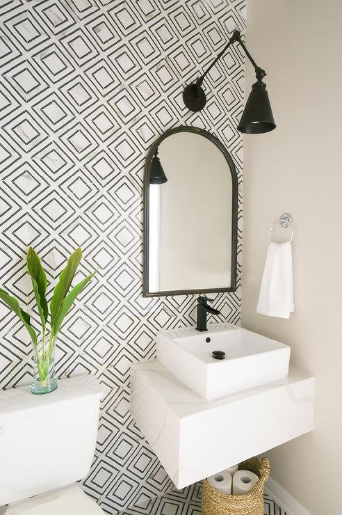 black and white diamond pattern tiles on wall  bathroom