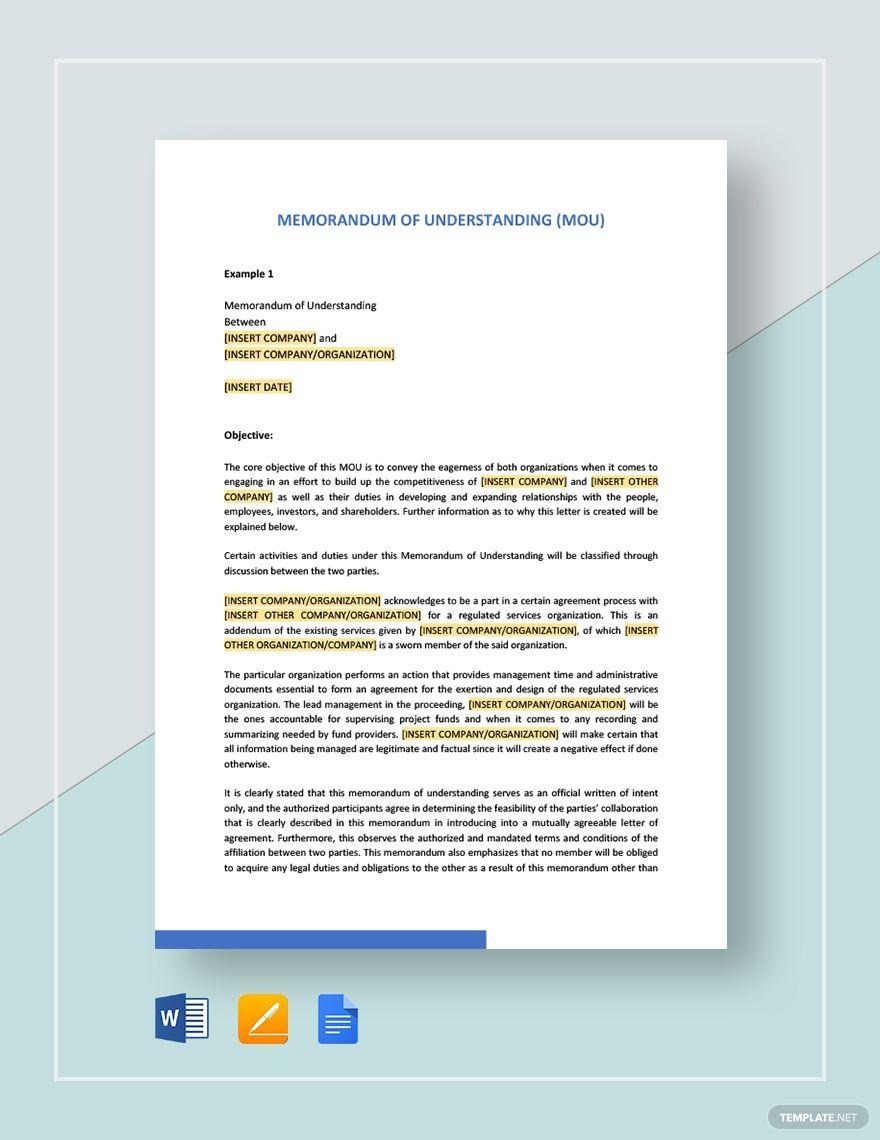 Memorandum Of Understanding Lettering Letter Templates Letter