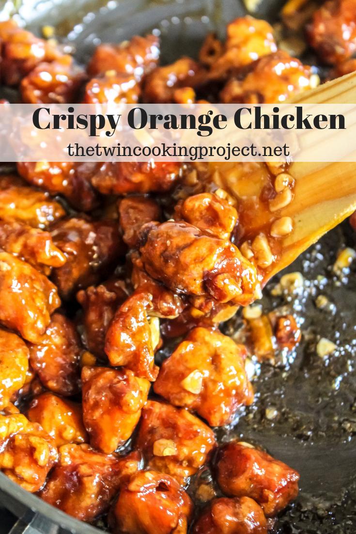 Crispy fried chicken tossed in a sticky sweet orange sauce #chineseorangechicken