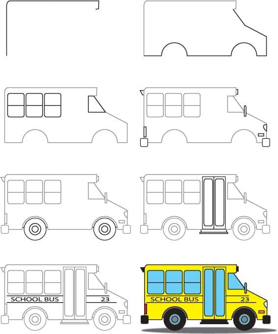 How To Draw A School Bus | School bus drawing, Drawing for ...