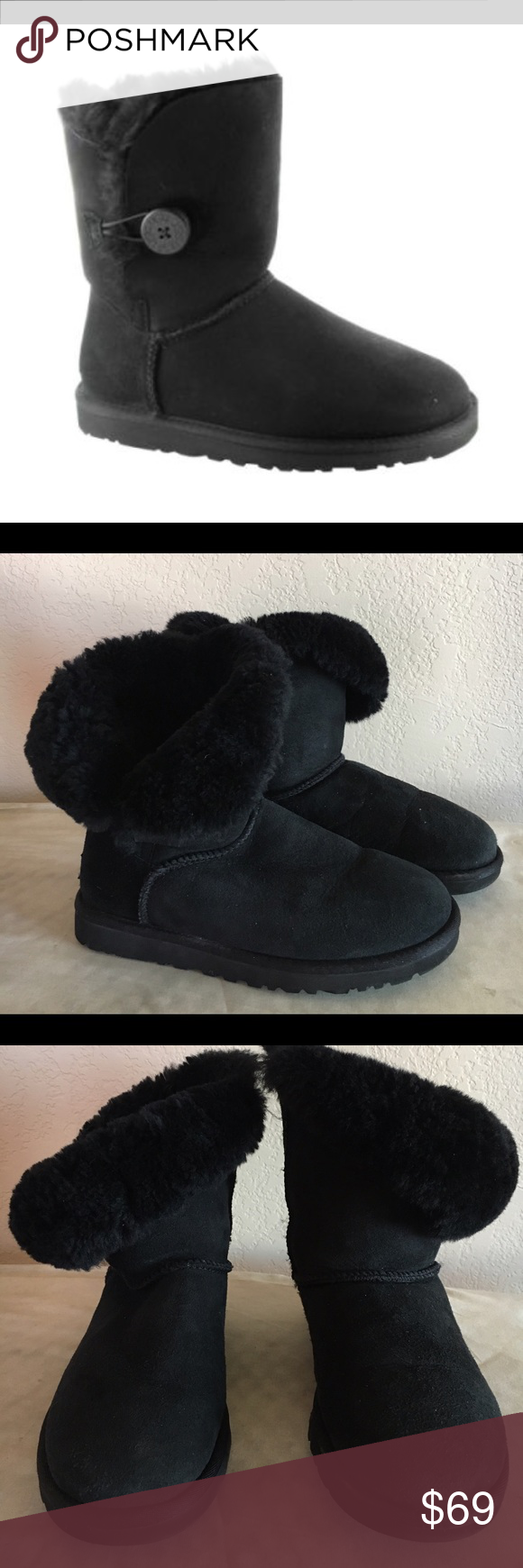 Ugh boots. Good pre-owned condition Black suede short uggs with button detail. Faux fur lining. In good pre-owned condition. Minimal signs of wear. No defects or damage. UGG Shoes Ankle Boots & Booties