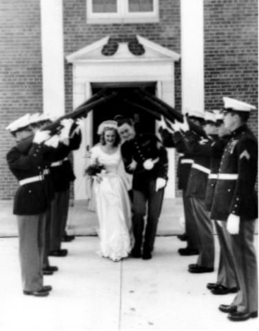 The First Military Wedding  Ever To Take Place In The Base Chapel   At Cherry Point, North Carolina  June 16, 1948