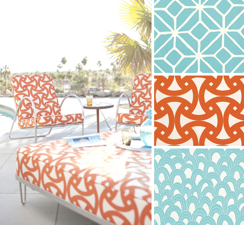 Find This Pin And More On Modern Outdoor Ideas. Vintage Geometric Fabric  Prints In Orange ...