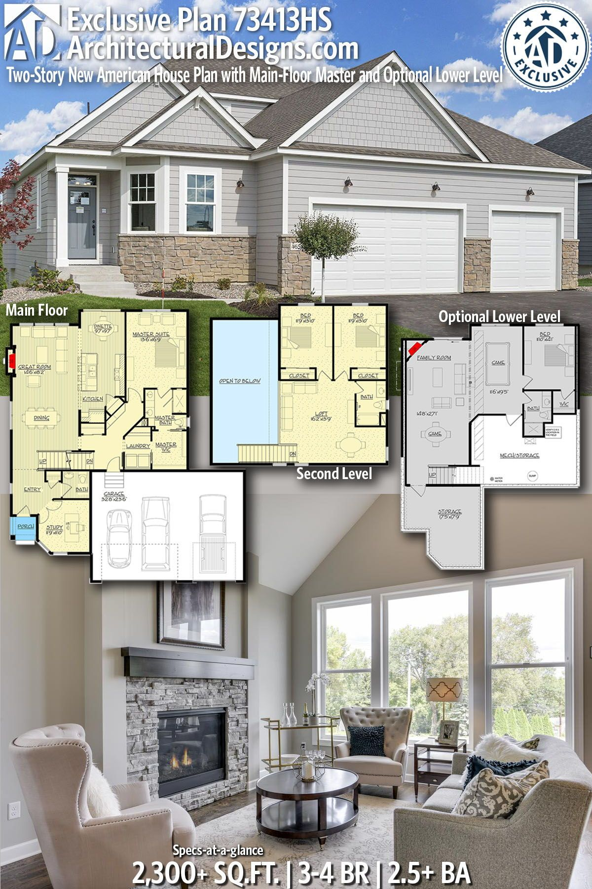 Plan 73413hs Two Story New American House Plan With Main Floor Master And Optional Lower Level In 2021 House Plans American Houses House