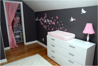 Girls Nursery On Pink And Dark Gray Baby Girl Nursery With Birds And Butterflies Baby