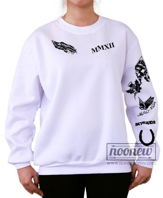 Calum Hood Tattoos Sweatshirt White and Grey Sweater by Noonew