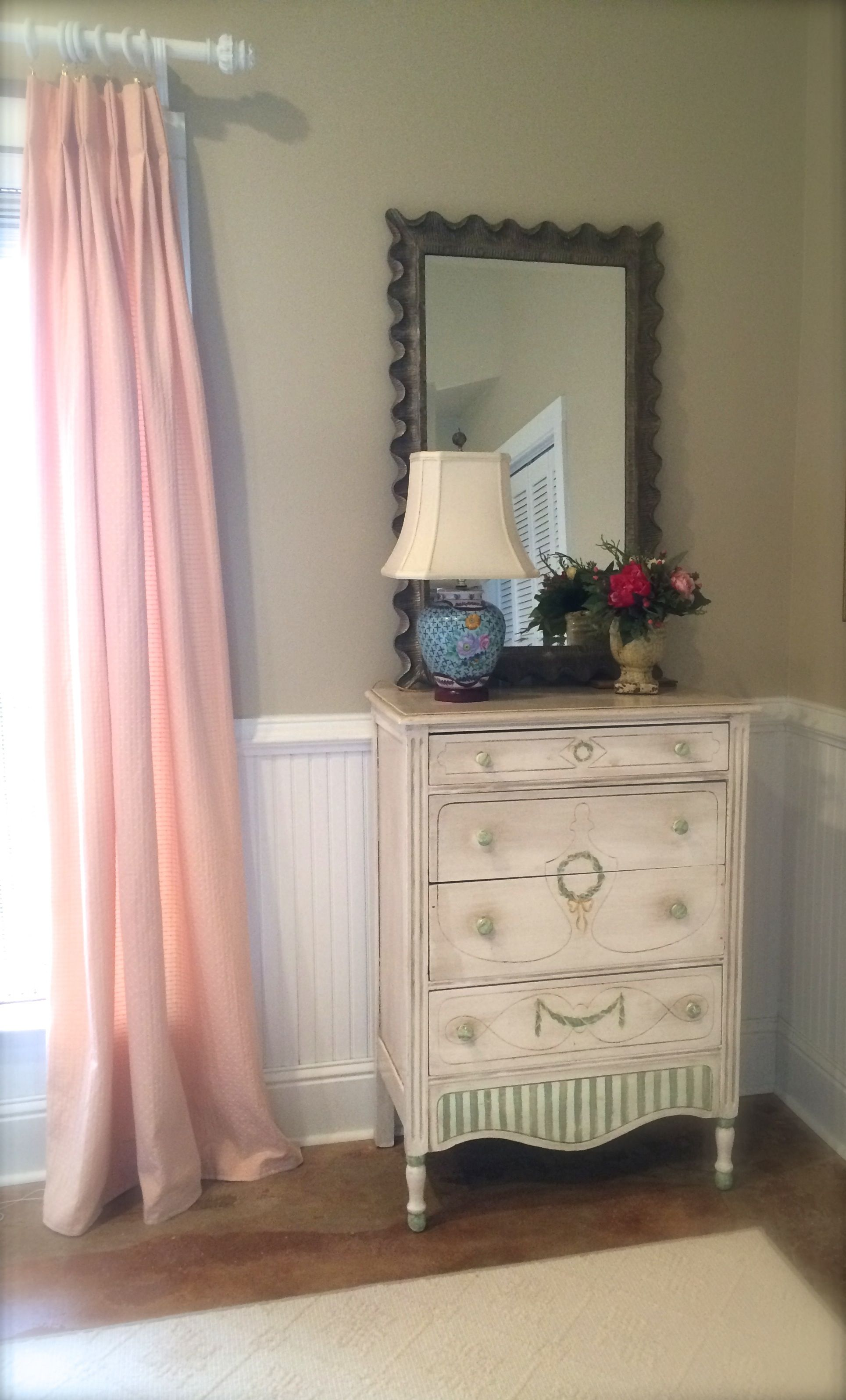 love this scalloped mirror from Wisteria
