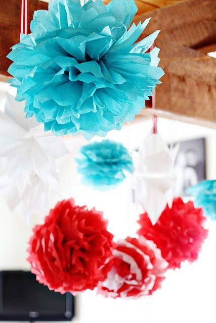 Dr. Seuss Party decorations- love the white & red puff flower