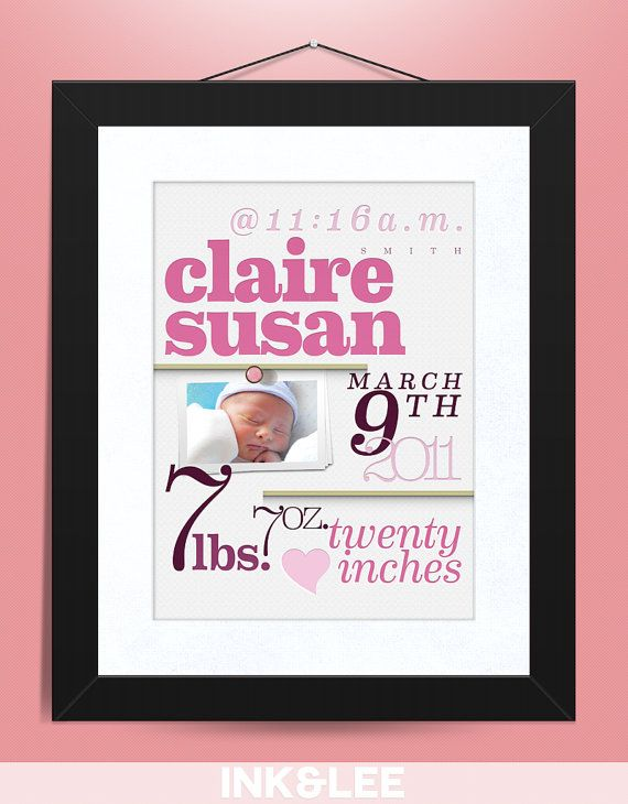 Personalized Baby Announcement Print by InkandLee on Etsy