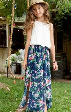 b5f744fa02 Truly Me Dahlia White With Navy Floral Slit Skirt Maxi Dress