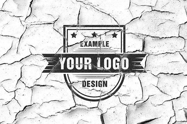 Logo on Old White Wall Mockup - Mediamodifier - Online mockup generator