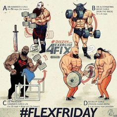 Via @deezify with @ezrepostapp  #FlexFriday inspiration for the savage peeps .  Some Bicep exercises for you to try. Different angles hand grips reps & tempo .  Workout: Flex Friday 103 .  A. DB Hammer Curls: 4 x 10 reps (3.0.1.0) B. DB Alternating Bicep Curls (run the rack): 4 x 8 reps C. DB Preacher Hammer Curls L/R: 4 x 10 reps  drop set (3.0.1.0) D. BB Bicep Curls (prison hand-offs): 4 x as many reps possible  Stay Savage my friends .  _________________________  #deezify #powerlifting…