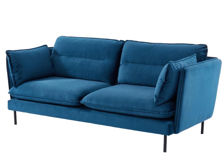 3 Sitzer Sofa Samt Monval Blau 3 Sitzer Sofa Sofa Zierkissen