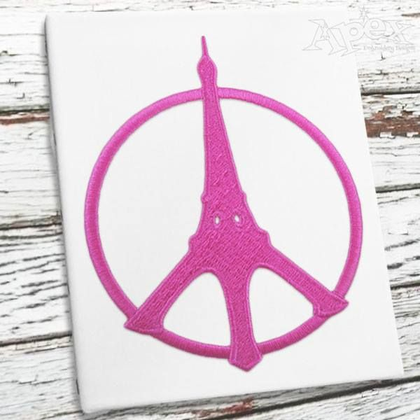 Eiffel Tower Paris Peace Sign Embroidery Designsyou Get Two Designs