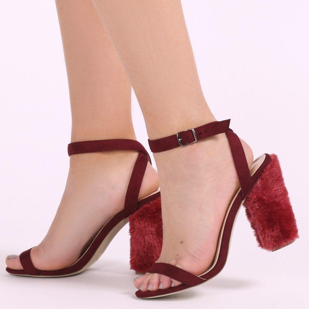 3985e573803 Jayde Barely There Faux Fur Block Heels in Bordeaux | Stuff to Buy ...